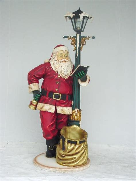 santa leaning on l post statue 6ft v1749 christmas 4 you