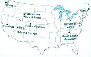 map of national parks in us us national parks travel guides lodging information