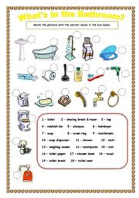 bathroom things names english teaching worksheets the bathroom