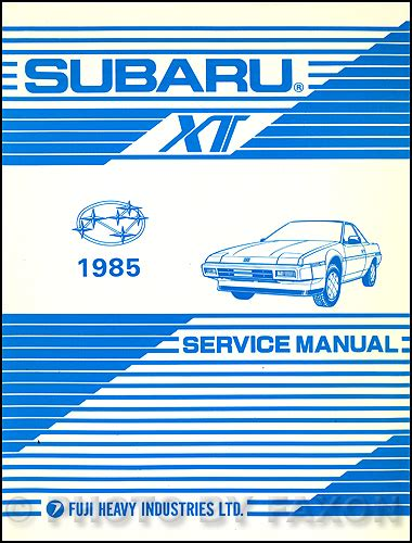 service manual online service manuals 1988 subaru xt transmission control service manual 1985 subaru xt repair shop manual original supplement