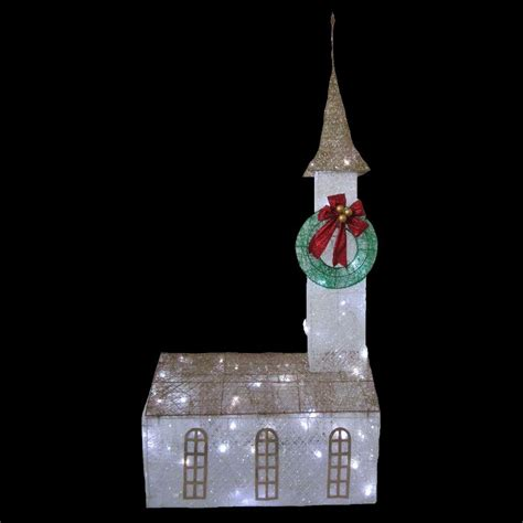 home accents holiday 6 ft pre lit twinkling church ty372 1411 the home depot