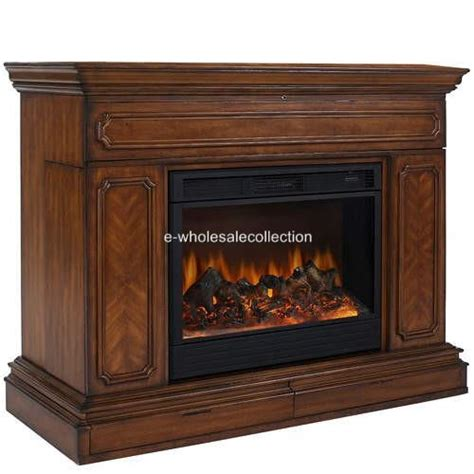 tv lift cabinet stand with built in electric fireplace ebay