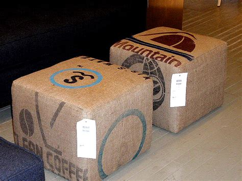 coffee sack ottoman repurposed burlap ottomans hudson goods blog