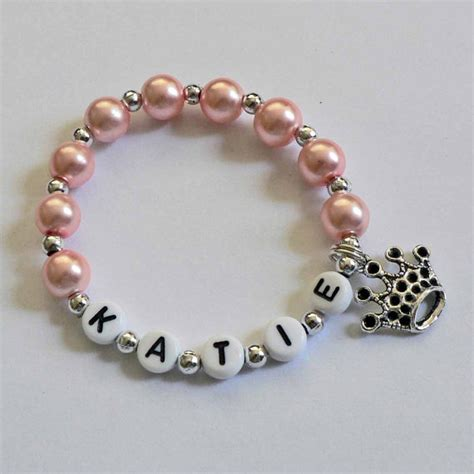 custom name bracelets pink pearl and silver bracelet personalized name by stargazinglily
