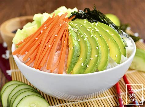 vegetables used in sushi vegetable sushi roll in a bowl iowa eats