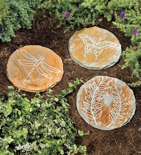 Garden Decor With Stones Etched Slate Garden Stepping Stones Traditional Outdoor Decor By Plow Hearth
