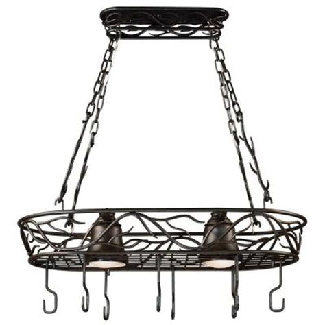 Ceiling Pot Rack With Lights Kenroy Home Twigs 58 In 2 Light Bronze Pot Rack 90308brz