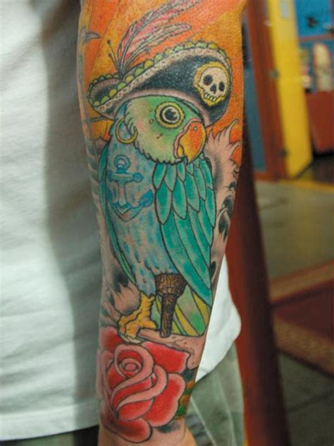 pirate parrot tattoo designs pirate parrot arm