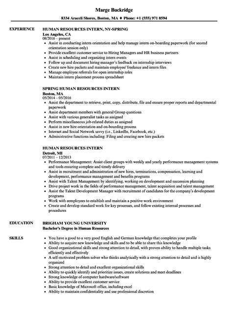 human resources intern resume sles velvet
