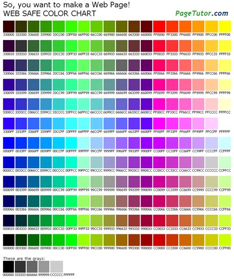 rgb color table 216 color chart
