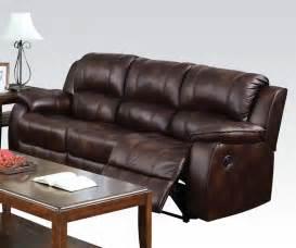Brown Microfiber Reclining Sofa by Zanthe Brown Polished Microfiber Reclining Sofa By Acme