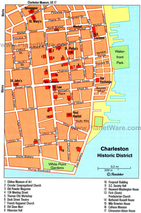 charleston map 14 top tourist attractions in charleston south carolina planetware