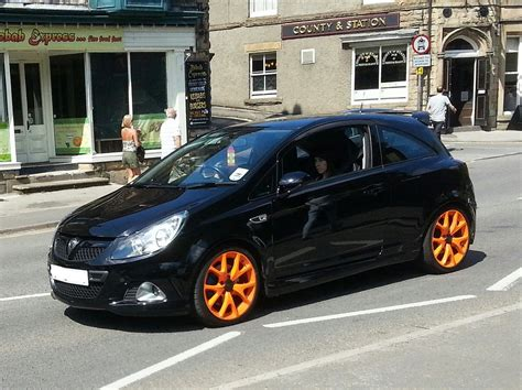 vauxhall astra vxr black vauxhall corsa vxr black with orange alloys the coolest