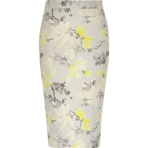 yellow pattern pencil skirt river island multicolor yellow floral print jersey