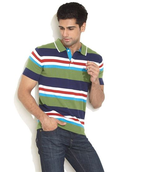 Striped Ribbed 1 2 Sleeved players multi stripe ribbed hem polo buy