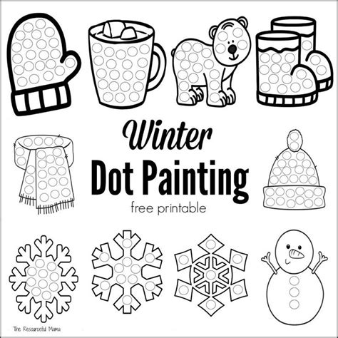 free printable dot to dot winter winter dot painting free printable for kids sons and