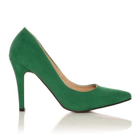 green high heel shoes darcy green faux suede stilleto high heel pointed court