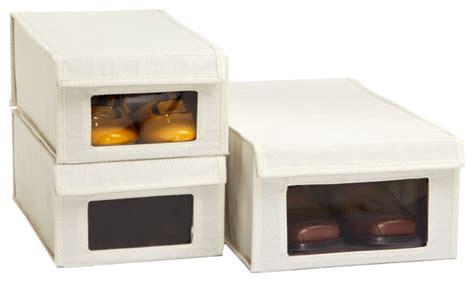 drop front canvas shoe boxes closet storage by the
