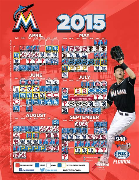 printable mlb schedule 2015 printable schedule miami marlins