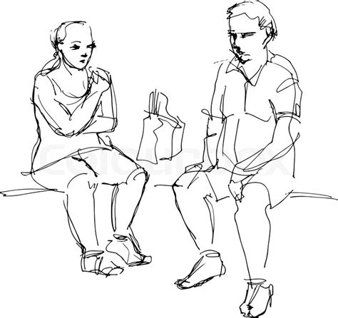 how to draw people sitting on a bench black and white sketch of a man and a woman sitting on a