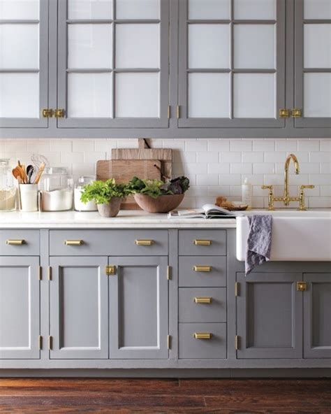 kitchen grey cabinets big comeback brass kitchen hardware centsational