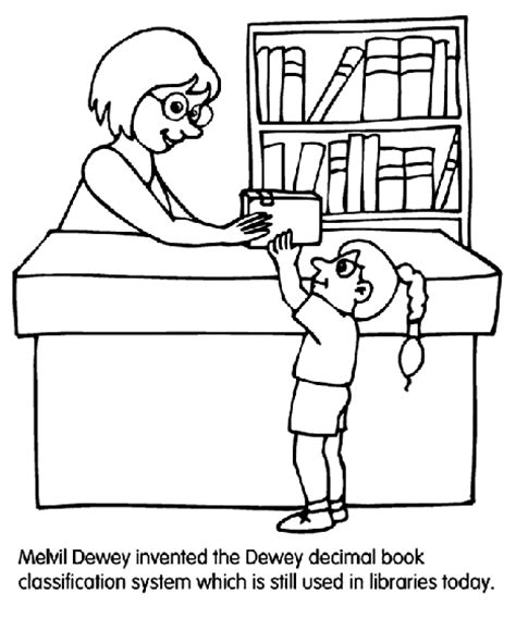 Library Coloring Pages librarian coloring page crayola