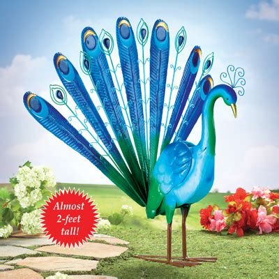 new peacock bird garden statue metal yard lawn