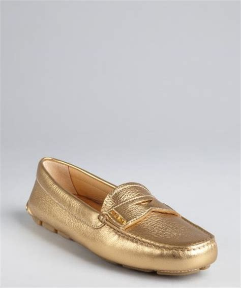 gold loafers prada gold leather loafers in gold lyst