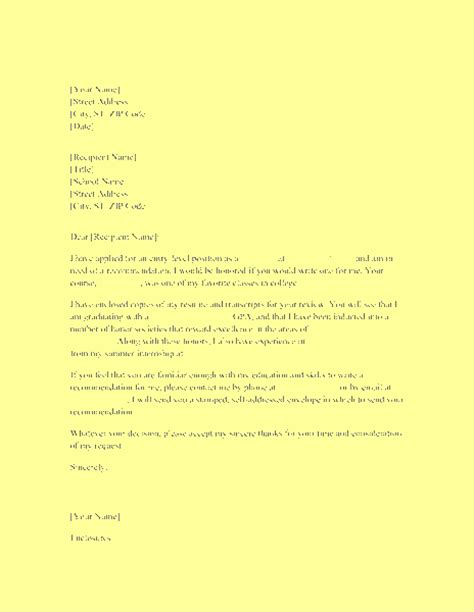 Reference Letter Envelope letter requesting recommendation from