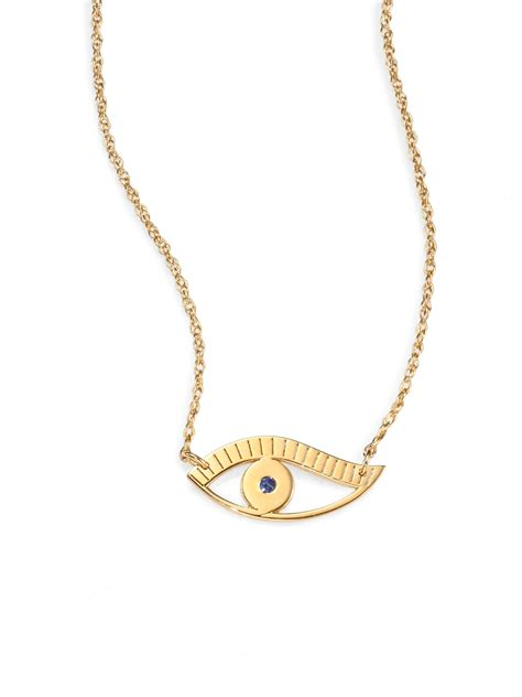 necklace pendants for jewelry lyst zeuner eye pendant necklace in yellow