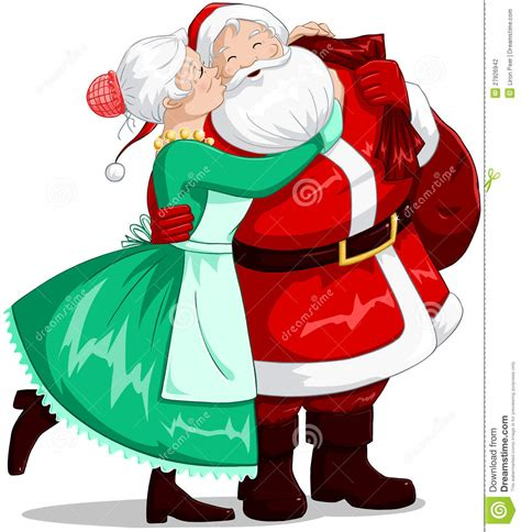 imagenes de santa claus y mama claus mrs claus kisses santa on cheek and hugs stock vector