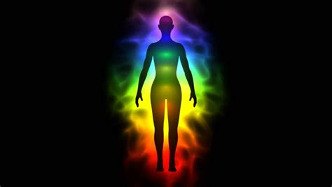 human aura aura and chakras silhouette of stock footage