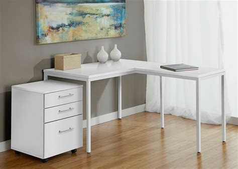 corner desk cabinet modern white l shaped corner parson s desk with mobile
