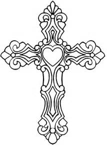 cross coloring pages drawings of crosses with hearts clipart best