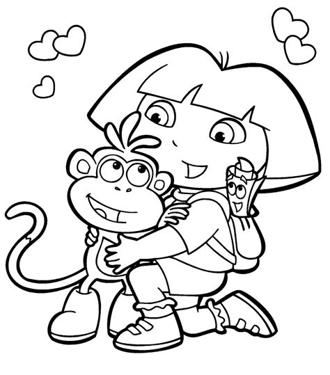 dora coloring pages download dora the explorer coloring pages for kids clipart best