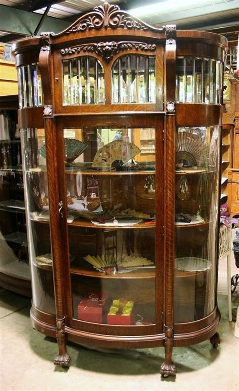 beveled glass china cabinet antique quartersawn oak leaded beveled curved glass