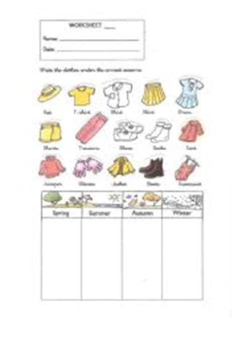 clothes for different seasons worksheet 100 seasons worksheets for kindergarten pdf english