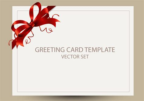 freebie greeting card templates with red bow ai eps