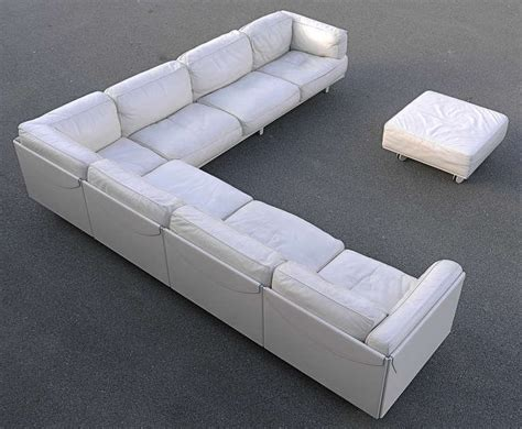 Large Leather Corner Sofas Large Poltrona Frau White Leather Corner Sofa Special Edition At 1stdibs