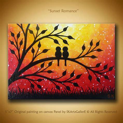 Coucher De Soleil Art Oeuvre Original Mini Peinture