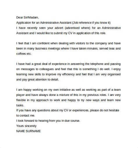 Cover Letter Administrative Assistant Customer Service cover letter for not posted
