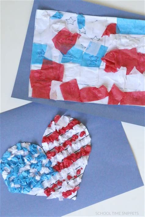 Tissue Paper Crafts For Preschoolers - tissue paper american flag family crafts