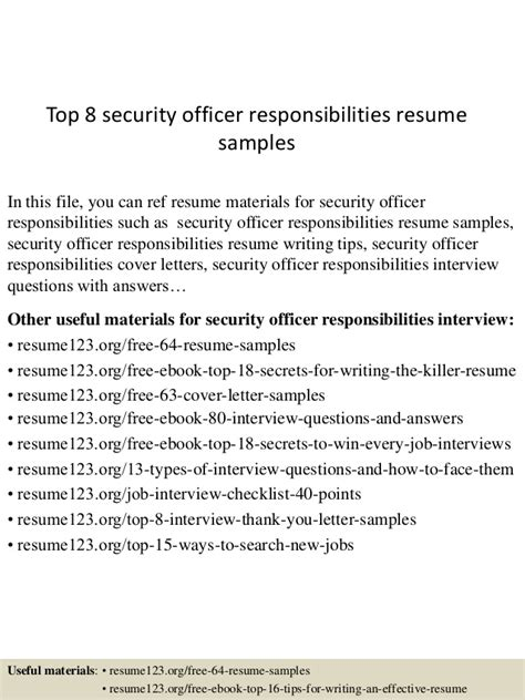 top 8 security officer responsibilities resume sles