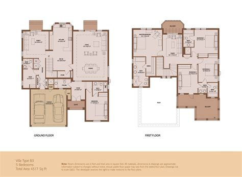 villa floor plans an elegant quot emaar villa quot 5 beds 4317 sq ft built by