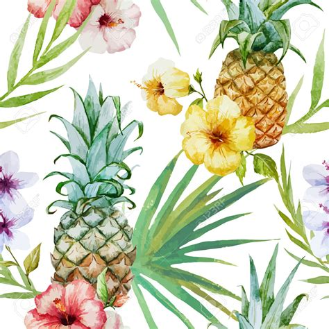 watercolor tropical pattern beautiful watercolor vector tropical pattern with