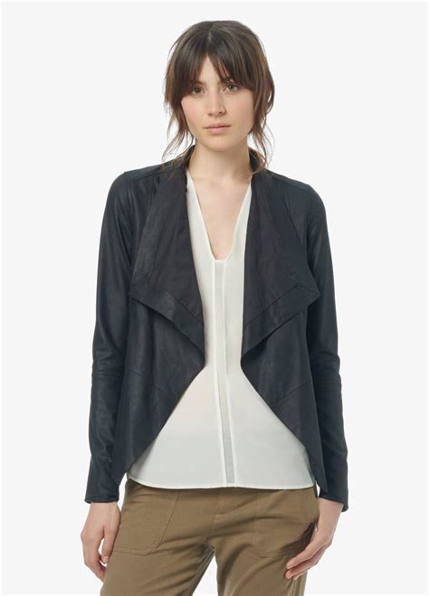 Vince Drape Front Feather Leather Jacket In Black Lyst