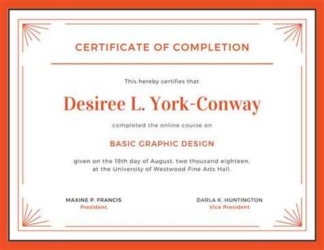 White Sertifikat orange and white completion certificate templates by canva