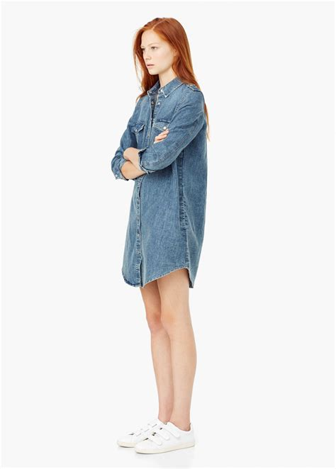 Patched Denim Dress Mango lyst mango denim shirt dress in blue