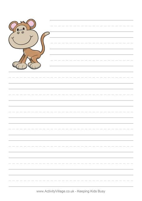 printable jungle writing paper monkey writing paper
