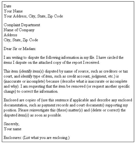 Dispute Letter For Credit Writing A Letter To Dispute Credit Report Sle Credit